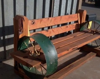 Western Cedar & Industrial wheel Bench