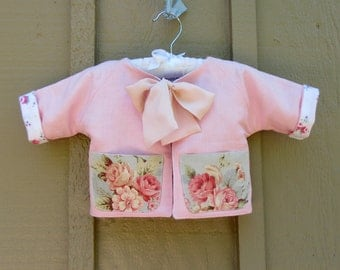 0 to 3mo Baby Girl Jacket with Vintage Pockets