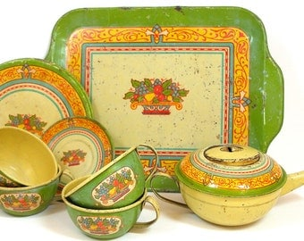 Art Deco Tin Toy Tea Set, Fruit basket, set of 10 by J Chein.