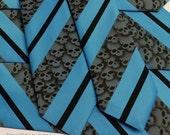 Men skull tie turquoise gray and black skull stripes