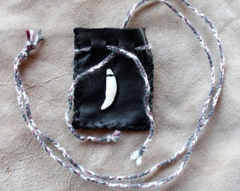Recycled leather necklace pouch with real coyote tooth for crystals, herbs, fetiches, medicine, and other small sacred objects