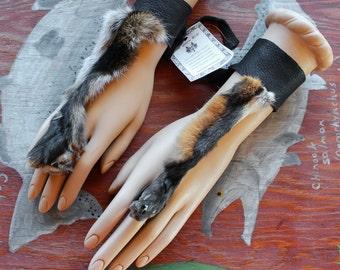 PAIR of red fox paw legskin and deerskin handflowers bracelets belly dance tribal fusion costume