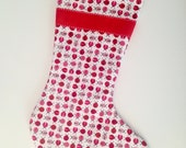 Lady Bug Christmas Stocking with Red Ribbon