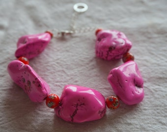 Pink howlite and vintage Japanese millefiori bead chunky statement bracelet- adjustable length