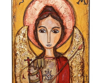 Saint Michael - Archangel - Original Painting on Wood Block by FLOR LARIOS (6 x 8  inches)