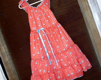 Dress- Size 7--Super Fun Orange with Blue Polka Dot Chiffon-Peasant Style -