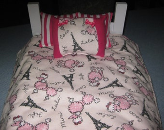 4 Piece Paris Poodle American Girl Bedding For 18 Inch Dolls Bedspread and Three Pillows