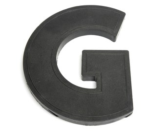 G is for GORGEOUS . black marquee letter . vintage sign letter .  industrial style