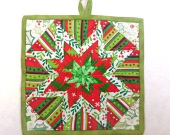 Quilted Folded Star Potholder,  Holiday Potholder, Christmas Potholder, Trivet, Quiltsy Handmade