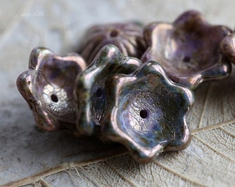 10% off BRONZE LILAC WHIMSY .. 6 Premium Picasso Czech Flower Glass Beads 12x6mm (5081-6)