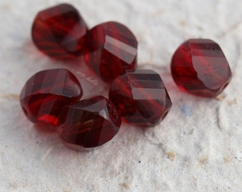 TWISTED CRANBERRIES .. 6 Premium Picasso Czech Faceted Glass Beads 8x10mm (5405-6)