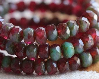 WILD RASPBERRIES .. 30 Premium Picasso Czech Glass Beads 3x5mm (B18-st)