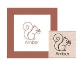 Squirrel Personalized Rubber Stamp