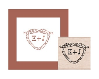 Rope Heart Tie the Knot Personalized Rubber Stamp