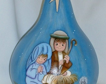 Kids Nativity Scene on Painted Gourd - Hand Painted