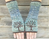 Fingerless Gloves with Tree of Life, Blue, Aqua, Brown, Armwarmers, Women's Gloves, Warm, Embroidered, Hippie, Boho, Bohemian, MADE TO ORDER