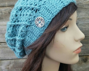 Womens Slouchy Hat, Girls Slouchy Beanie, Baby Blue Hat, Slouchy Beanie with Buttons, Fall Hat, Autumn, Boho Hat Bohemian Hat, READY TO SHIP