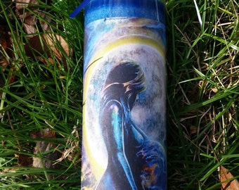 Wicca Witch Pagan Altar Spell Magick Earth Mother Goddess GAIA Healing Ritual Meditation Blue Candle