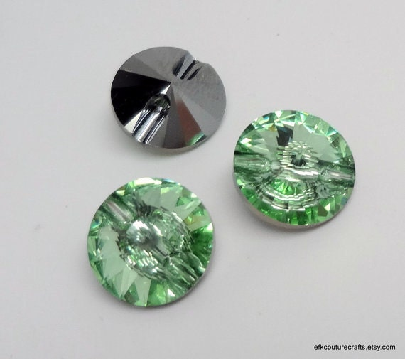 Swarovski crystal rivoli buttons in chrysolite 10mm - Swarovski crystal buttons ...