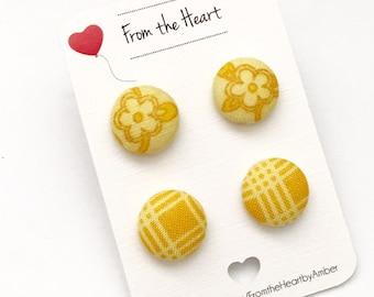 Button Earrings, Jewelry, Child Earrings, Mustard, Fabric Button Earrings, Yellow, Spring, Spring Jewelry
