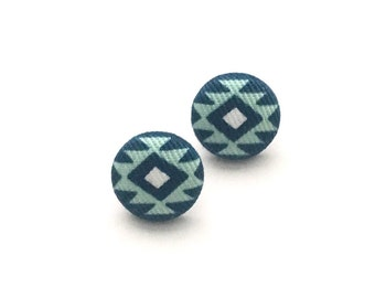 Fabric Button Earrings, Stud Earrings, Native American, Southwestern, Tribal Fabric,bButton Jewelry, Accessory