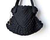 Vintage Black Crochet Handbag , Popcorn Stitch, Unusual Purse, 1940s