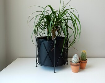 Mid Century Black Drum Planter