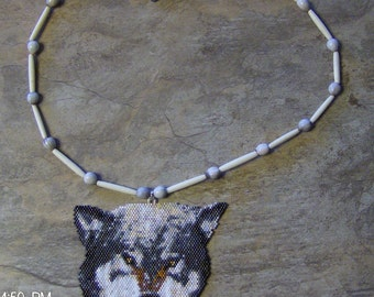Snarling Wolf Necklace Hand Made Seed Beaded