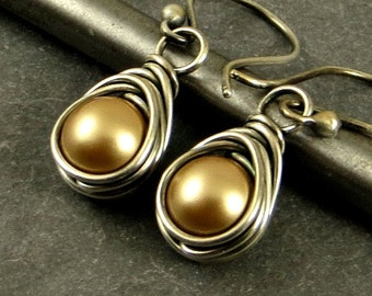Gold Pearl Earrings, Wire Wrapped Pearl Earrings Holiday Jewelry Eco Friendly Jewelry Gifts for Her Ready to Ship