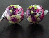 Polymer Clay Earring Size Handmade 2 Bead Floral Round Lentil Yellow Fuchsia Pink Lime Flower Hot Pink Green Leaf (2059clay)