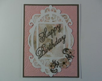 Handmade Greeting card Birthday  pink and taupe with flowers