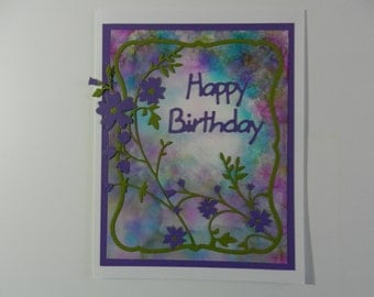 Handmade Greeting card Birthday purple and green with flowers