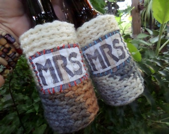 Mrs and Mrs, Beer cozy, Bride and Bride, Lesbian wedding, Gay Wedding, Boho Hippie, Gay Pride, C51, same sex, two brides, lesbian gift