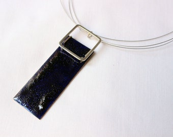 Enamel necklace, blue statement necklace, geometric jewelry, fashion chunky jewellery Blue enamel, Sterling silver and copper, Rectangular