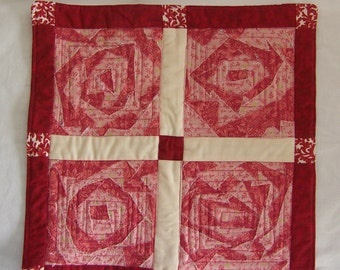 Fractured Flowers in Pink and Rose Quilted Table Runner  Mug Rug or Mini Quilt