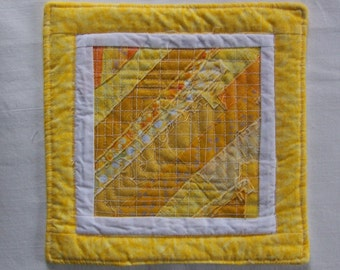 Scrappy Modern  Yellow  and White Mug Rug Coaster or Mini Quilt #2