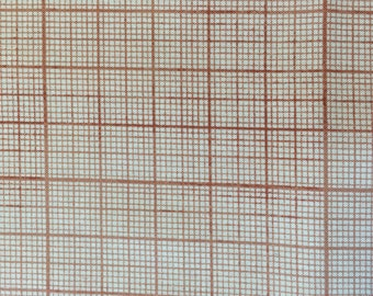Tim Holtz Fabric by the Yard - Correspondence - Graph in Red - Quilter's Cotton