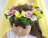 Doll Flower Crown American Girl Doll Flower Crown 18 Inch Doll Summer Flower Crown Pink and Yellow Flower Crown Am Girl Doll Flower Crown