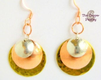Brass Copper and Silver Earrings