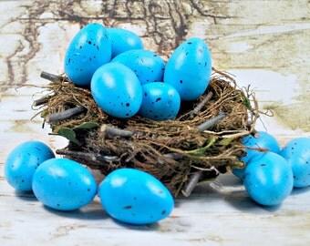 Blue Bird Eggs - Faux Bird Eggs - Large Bird Eggs - Artificial Eggs - Blue Eggs - Bird Eggs for Bird Nest - Floral Supply - Craft Supply