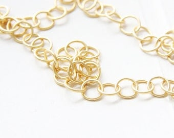One Foot Premium Matte Gold Plated Brass Base Chains-Ring 8mm (444C06)