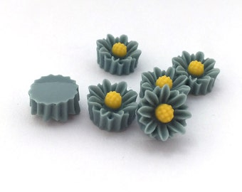 10pcs Acrylic Flower Cabochons-Blue Green 10mm (19F4)