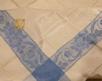Vintage Floral Linen Tablecloth