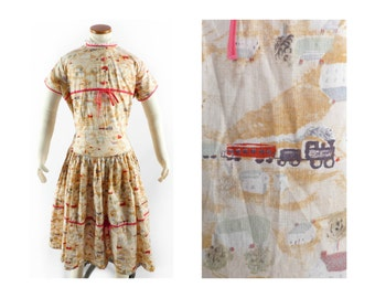 Vintage 50s Girls Dress // 1950s Girls Dress // NOVELTY Train Dress // Cotton Printed Dress - 34 Bust