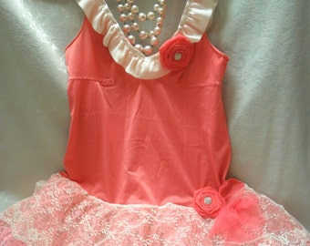 TUNIC Top Tank Whimsical Fairylike Romantic Boho Fairy Princess Glam Girl - Coral & Ivory