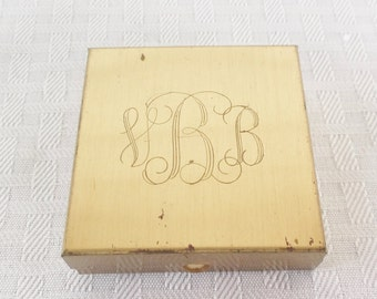 Vintage Mid Century 1950s Gold Tone Compact Initials B.B.
