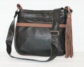 recycled black and brown leather messenger bag, purse, crossbody, adjustable, strap, sling, shoulder bag, tassel, handmade, stacylynnc