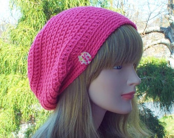 Bright Pink Slouchy Beanie, Womens Crochet Hat, Oversized Slouch Beanie, Hipster Hat, Baggy Beanie, Slouchy Hat with Button