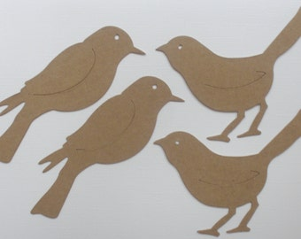 BiRD DUO - Chipboard Die Cuts - Perched and Standing Birds - Bare Diecuts
