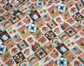 """Country Style Japanese fabric Little girl print 50   cm by 106 cm or 19.6 """" by 42""""  Half  Meter nc51"""
